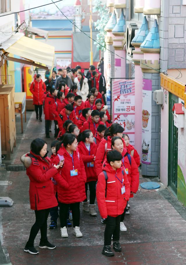 中国学生参观仁川童话村