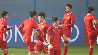 Đội tuyển Việt Nam tập luyện chuẩn bị cho trận đấu với Nhật Bản