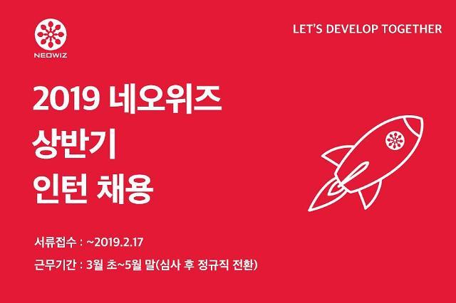 네오위즈, 2019년 상반기 인턴사원 공개 모집