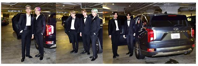 BTS, 팰리세이드로 美 그래미 어워즈 레드카펫 밝혔다