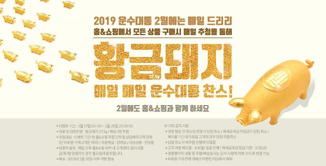 홈앤쇼핑 2019 운수대통 특집전 진행…황금돼지 10돈 추첨