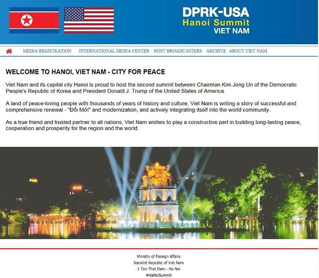 越南政府开通金特会官网