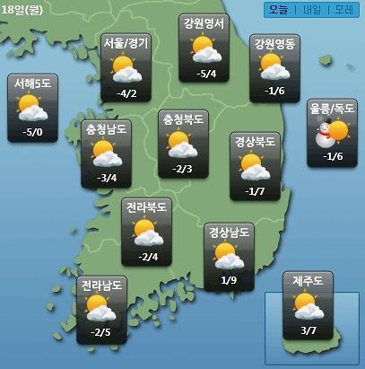 [오늘의 날씨 예보] 정월대보름 하루 전 미세먼지 보통…제주도 저녁부터 비 시작