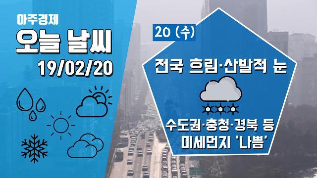[20일 오늘 날씨] 전국 흐리고 산발적 눈··· 수도권·충청·경북 등 미세먼지 '나쁨'