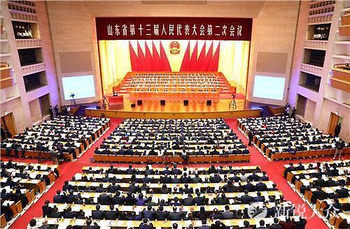[중국포토]中 산둥성 전인대 2차회의 지난서 폐막