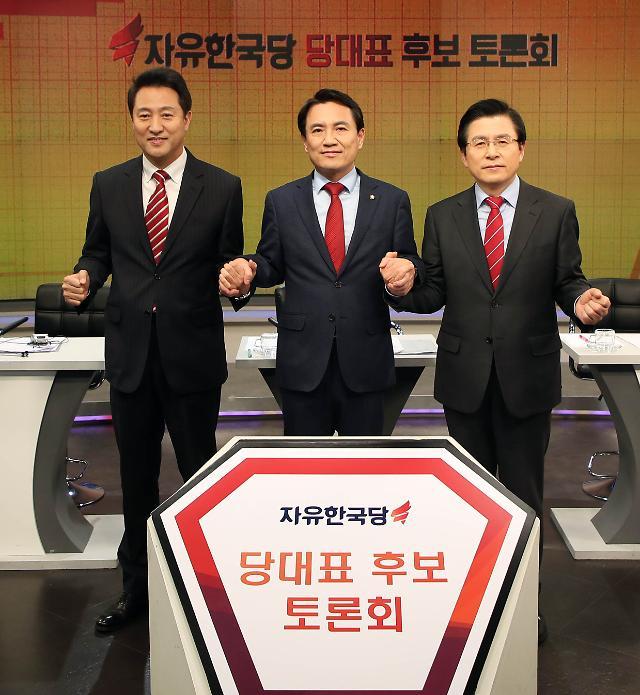 """황교안 """"박근혜 탄핵은 세모""""…모호한 발언에 오세훈·김진태 맹공"""