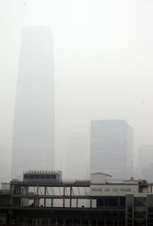 중국 베이징, 내일 스모그 주황색 경보 발동