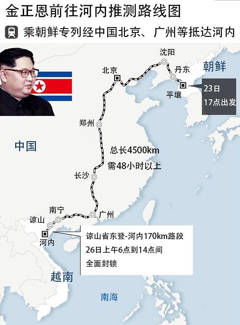 俄媒:金正恩今日乘专列从平壤出发前往越南