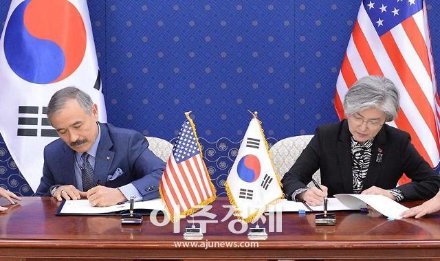 강경화 장관-해리스 대사, 한·미 방위비분담 특별협정 서명