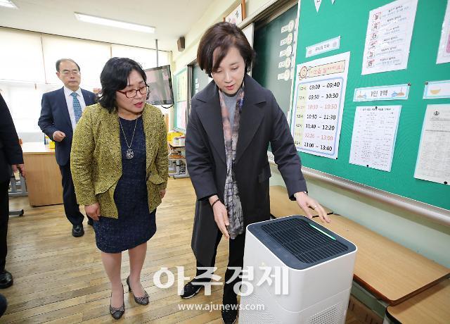 유은혜 부총리, 서강초등학교 방문해 미세먼지 점검