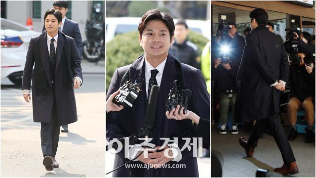 [슬라이드 화보] 버닝썬 게이트 촉발 김상교, 미소부터 뒷짐까지 여유넘치는 경찰서 출석길