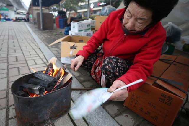 [포토] 봄 시샘하는 추위, 미세먼지는 날려라