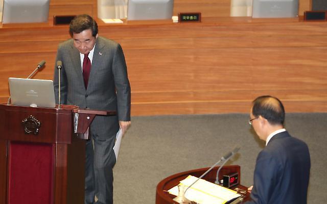 [国会对政府质询]韩国党批评政府经济政策主导增长收入 追究总理李洛渊责任