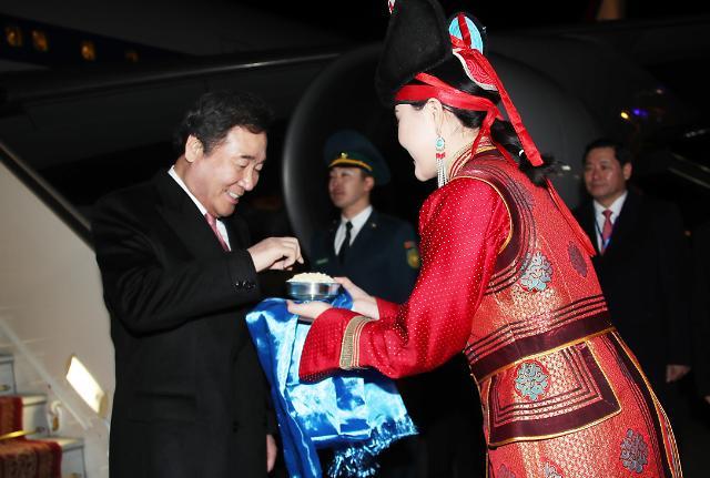 韩总理抵达蒙古