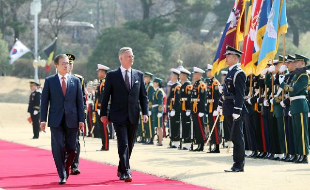 文在寅举行仪式欢迎比利时国王