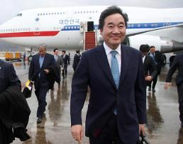 .韩总理李洛渊结束对中蒙两国的访问回国.
