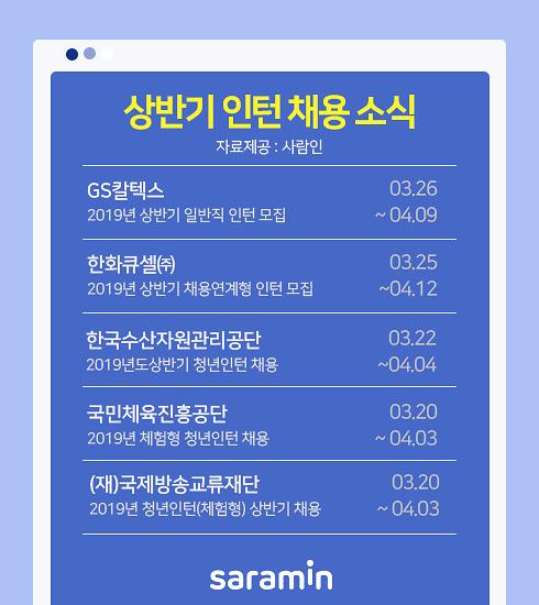GS칼텍스, 한화큐셀, 한국수산자원관리공단 인턴 채용