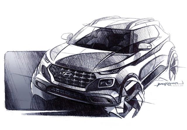 현대차, 엔트리 SUV 베뉴 렌더링 최초 공개... '밀레니얼 세대 잡는다'