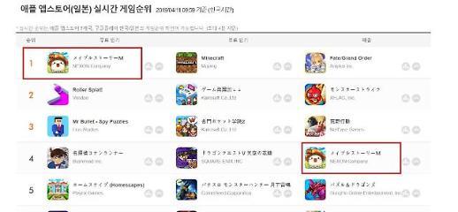 넥슨 '메이플스토리M'이 일본 출시 2일만에, 앱스토어 매출 4위