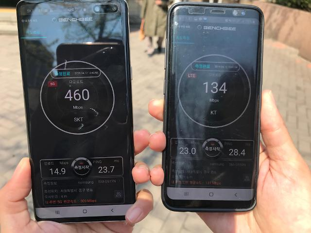 [르포] 5G, 잘터지는 곳에선 LTE보다 빨라…실내에선 무용지물