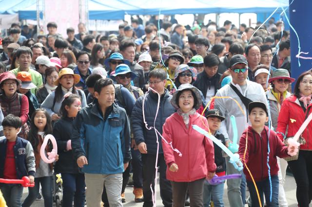 인천시 옹진군 북도면 장봉도 벚꽃축제 성황