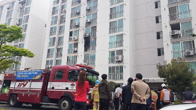 [포토] 진주 아파트서 방화, 흉기 난동