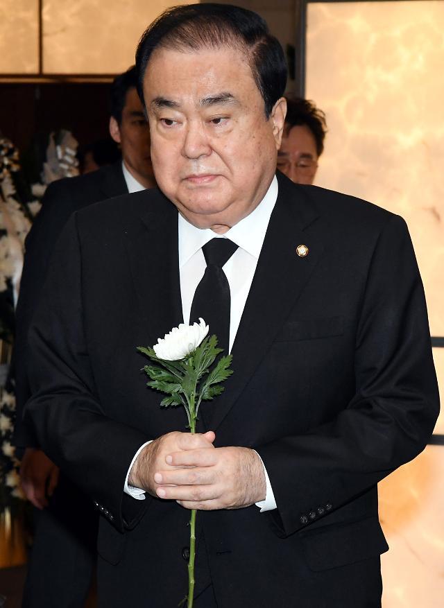 """연청 동지 文의장 """"故 김홍일 민주화 헌신…다시 한 번 되새겨야"""""""