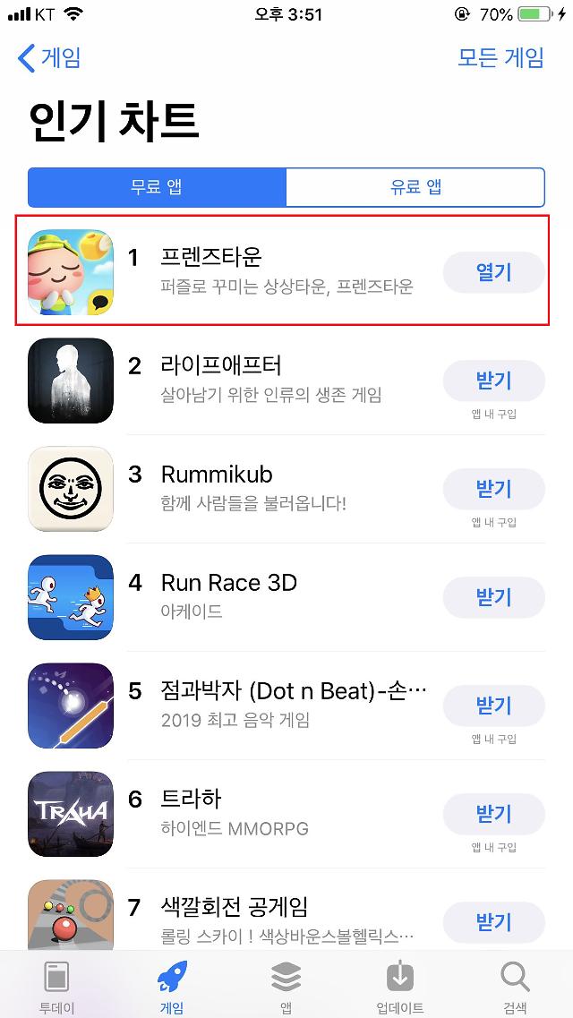 카카오게임즈, 프렌즈타운 애플 앱스토어 인기순위 1위 달성