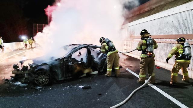 [포토] 양양고속도로 승용차 화재