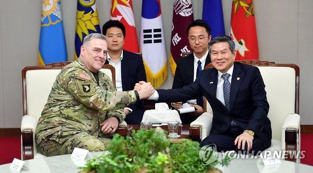"""정경두 장관, 마크 밀리 美합참의장 접견... """"한미동맹 굳건 확인"""""""