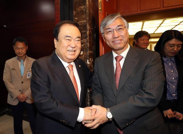韩国会议长和中国驻韩大使同框