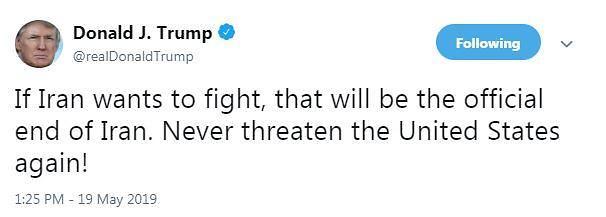 """트럼프 """"이란, 미국 위협하면 종말 맞을 것"""""""
