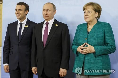 """푸틴·메르켈·마크롱 3자통화…""""우크라, 시리아, 이란문제 등 논의"""""""