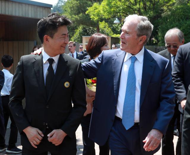 [포토] 노건호와 이야기하는 부시 전 대통령