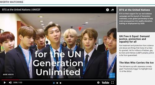 防弹少年团视频登联合国官网主页引关注