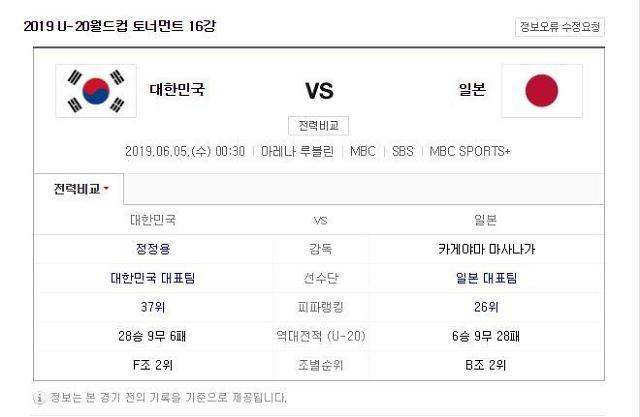 [U20 월드컵] 한일전 축구 16강전 중계는 어디서?…한국vs일본, 역대전적은?