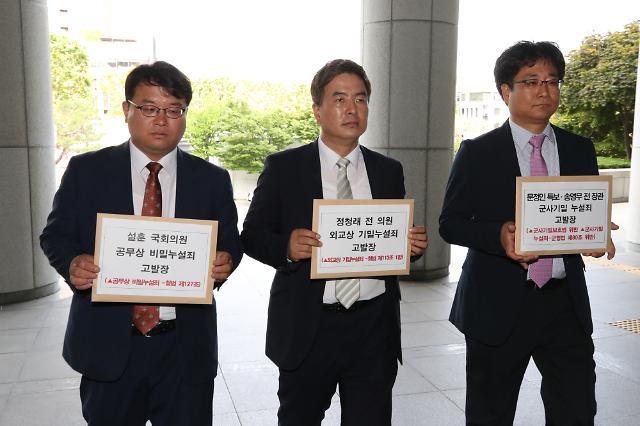 한국당, 설훈·정청래·문정인·송영무 기밀누설 혐의 검찰 고발