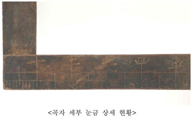 안성 청룡사 대웅전 기둥 밑서 길이 재는 옛 곡자 나와