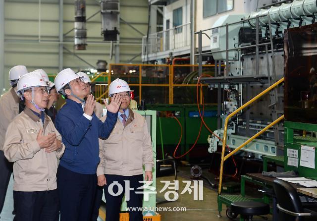 """성윤모 산업부 장관, 선박·항공기 엔진기업 방문…""""발전전략 모색"""""""
