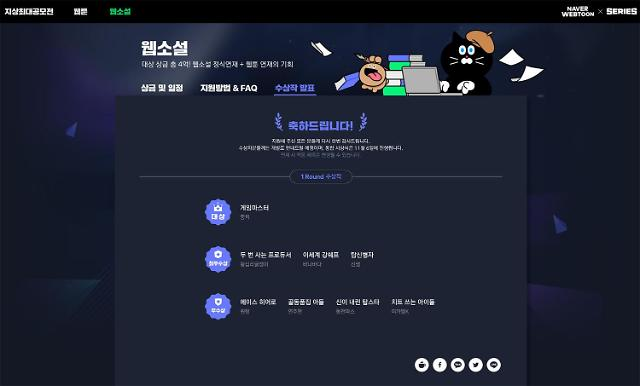 네이버웹툰, '지상최대공모전' 웹소설 첫 라운드 수상작 발표...대상에 '게임마스터'