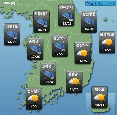 [오늘의 날씨 예보] 2019년 장마기간? 평택, 천안 등 경기·충청 호우특보…낮 최고기온 25도