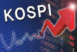 .Kospi上升到2100点水平线.