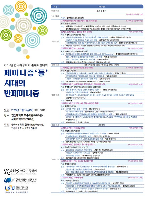 한국여성학회·여성硏, 15일 춘계학술대회 통해 페미니즘들 조망
