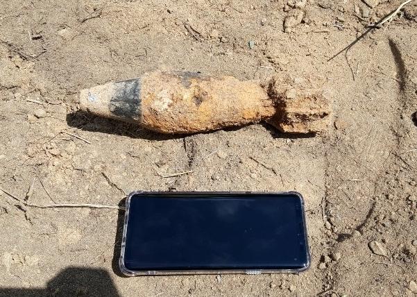 [포토] 칠곡 국도변서 60㎜ 박격포탄 발견