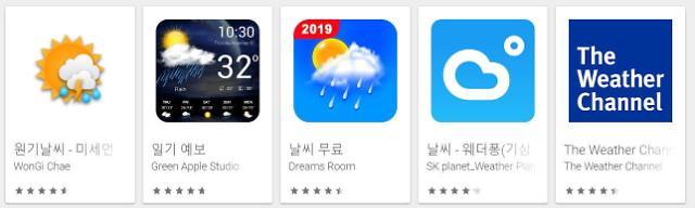 천둥 번개 오늘의 날씨…날씨 앱 평점 상위권은?