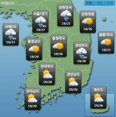 [오늘의 날씨예보] 2019년 장마? 천안·평택 날씨 천둥·번개 동반 비…대전·청주 등 '흐림'