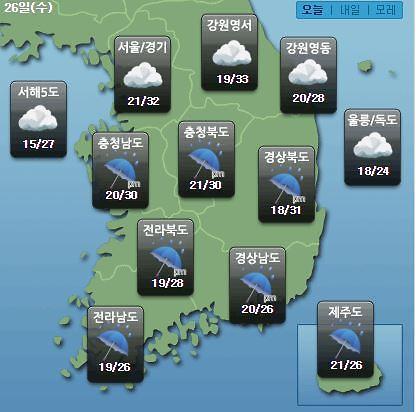 [오늘의 날씨 예보] 장마 제주 시작 거제·창원·광주 등 전국 비…비 소식 내일까지
