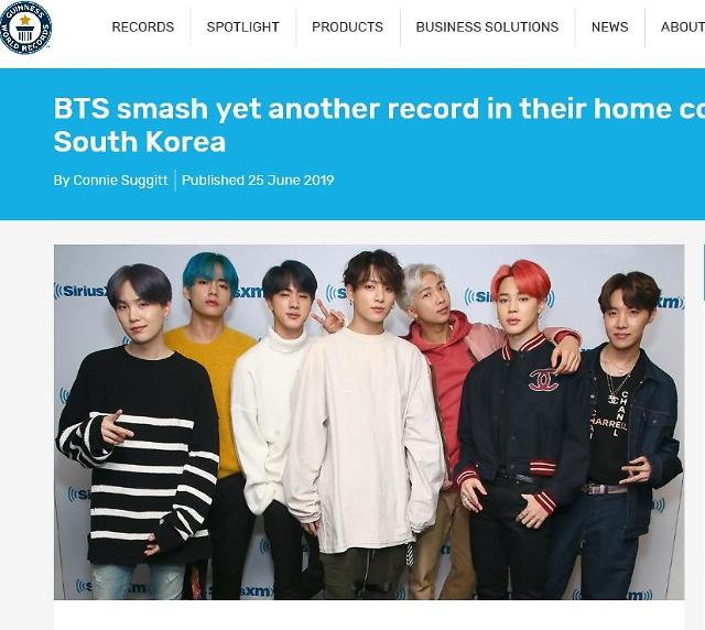 Guiness highlights record-breaking streak by K-pop band BTS