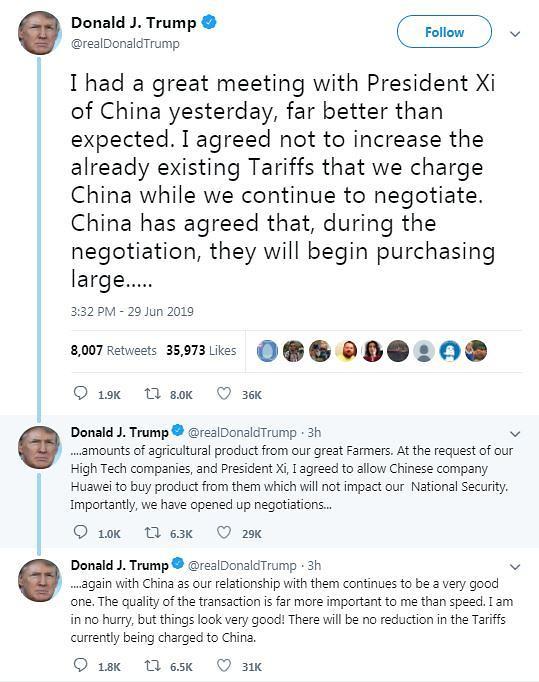 """트럼프 """"미·중 회담 기대 이상...협상재개가 중요 성과"""""""