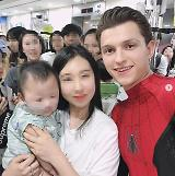 .Actor Holland, clad in Spider-Man uniform, visits pediatric ward in Seoul.